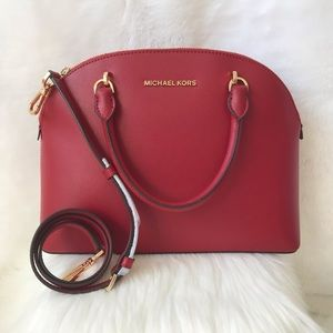 New! MICHAEL KORS EMMY LARGE DOME SATCHEL LEATHER